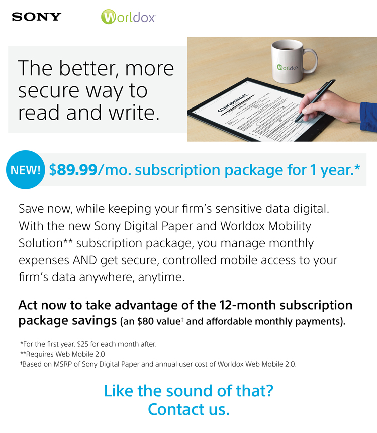 Worldox mobility and Sony DP package promotion